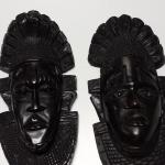 "Large Teak Africian Mask.  We have two available.  Each measures 7""w x 15"" high.  Pre-owned & in excellent condition.  $60.00 each obo"