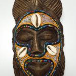 Small Hand Carved Wood Mask with Bead and Shells.  Very detailed work.  Pre-owned & in excellent condition.  $35.00 obo