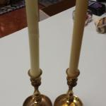 "Pair of Brass Candlestick Holders.  Measure 3.5 x 7""h.  Pre-owned & in excellent condition.  $19.00 obo"