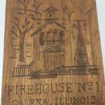"Hand Carved Wood Firehouse No. 1 Plaque.  This Plaque is from Galena, IL.  Measures 4.5"" x 6"".  Pre-owned & in excellent condition.  $12.00 obo"