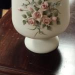 Vintage Lefton China Bisque Vase on Pedestal.  Gorgeous hand painted with intricately crafted pink raised flowers.  Believe to be from between 1949-1955.  Numbered #1046 on bottom. Pre-owned & in excellent condition.  $47.00 obo