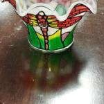 Decorative Glass Votive Holder.  Adorable with Dragonfly.  Two available.  Pre-owned & in excellent condition.  $15.00 each obo