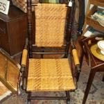 Antique Platform Rocker.  We believe this to be from the 1800's & to have been recently recaned.  There are 2 wheels in back for easy moving.  Pre-owned & in excellent condition.  We are asking $150.00 obo