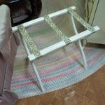 "Vintage White Wood Luggage Rack.  This Rack has satin straps.  Measures 22.5""l x 14""w x 19""h.  Pre-owned & in excellent condition.  $20.00 obo"