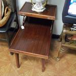 "Vintage Dark Wood End Table with Shelf.  Adorable.  Measures 16""l x 25""w x 23""h.  Pre-owned & in good condition.  $20.00 obo"