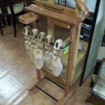 "Wood Valet with Wood Shoe Holder.  This Valet has extensions for ties and cubby caddies for change and/or cuff links.  Includes a pair of Church's Aromatic Red Cedar English Shoe Keeper.  Measures 18""l x 12.5""w x 41""h.  Pre-owned & in excellent condition.  $35.00 obo"