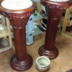 "Wood Pillar Planters with Marble Tops.  Gorgeous carved wood.  Each measures approximately 14"" diameter x 3' high.  Pre-owned & in mint condition.  $125.00 each obo"