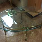 Vintage Brass & Glass Oval Coffee Table.  Measures 3' x 2'.  Pre-owned & in excellent condition.  $140.00 obo