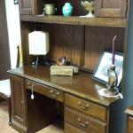 Hooker Furniture Executive Desk with Hutch.  Beautiful piece.  Has keyboard slide on top drawer, 2 regular drawers & 1 laterial drawer.  Has cabinet for tower and electric outlet.  Measures 56 x 22 x 80.  Pre-owned & in excellent condition.  $699.00 obo