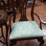 Pair of Vintage Wood Armed Chairs.  They have the ball and claw feet with beautiful light green seating.  Gorgeous.  Pre-owned & in excellent condition.  $185.00 each obo