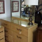 "Vintage Limba Blonde 6 Drawer Dresser with Mirror.  Beautiful piece.  Includes glass top.  Measures 52"" x 18"" x 32"".  Pre-owned & in excellent condition.  $150.00 obo (Whole set available for $400.00 obo)"