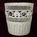 "Vintage White Wicker Wastebasket.  Measures 10 1/2"" high x 10"" in diameter.  Pre-owned & in good condition, has slight breakage on bottom.  $7.50 obo"