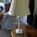 "White Wood Lamp with Shade.  Measures 25.5"" high.  Pre-owned & in excellent condition.  $15.00 obo"