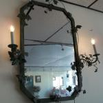 "Green Wrought Iron Mirror with Lights.  This Mirror is gorgeous and unusual.  Measures 32""l (light to light) x 41""h.  Pre-owned & in excellent condition.  $110.00 obo"
