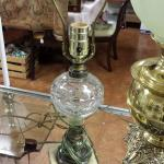 "Small Vintage Glass Globe Lamp.  Great piece for any room.  Measures 19"" high.  Pre-owned & in excellent condition, no shade included.  $33.00 obo"