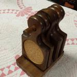 Vintage Wood Coasters on Holder.  Pre-owned & in excellent condition.  $15.00 obo