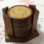 Vintage Wood Coasters in Holder.  Pre-owned & in excellent condition.  $12.00 obo