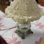 Vintage Hurricane Lamp with Lace Shade.  Absolutely adorable.  Pre-owned & in excellent condition.  $35.00 obo