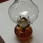 Vintage Oil Lamp with Etched Hurricane Shade.  Great item.  Pre-owned & in excellent condition.  $25.00 obo