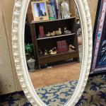 "Vintage Cream Wood Oval Mirror.  Gorgeous Mirror.  Measures 23.5"" w x 45.5""h.  Pre-owned & in excellent condition.  $70.00 obo"
