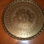"Vintage Brass 12"" Plate with Arabic or Turkish detailed etching.  Rim is wonderfully scalloped.  Pre-owned & in excellent condition, one small tarnish spot on tray.  No markings.  $25.00 obo"