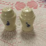 Vintage Salt & Pepper Shakers with Blue Flowers.  Great piece.  Pre-owned & in excellent condition.  $15.00 obo