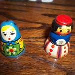 "Two unique vintage hand painted wooden thimbles. Pre-owned & in excellent condition. Each are approx 1""-1 1/4"" high.  $5.00 each of $9.00 for both obo"